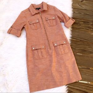 Sharagano Knee Length Quarter Sleeve Zip Up Dress